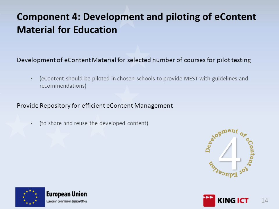 Component 4: Development and piloting of eContent Material for Education