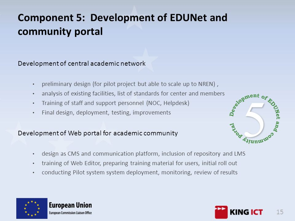Component 5: Development of EDUNet and community portal