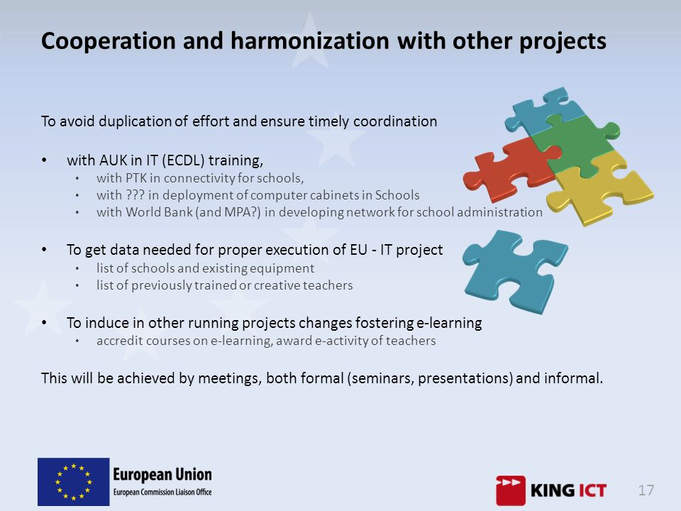Cooperation and harmonization with other projects