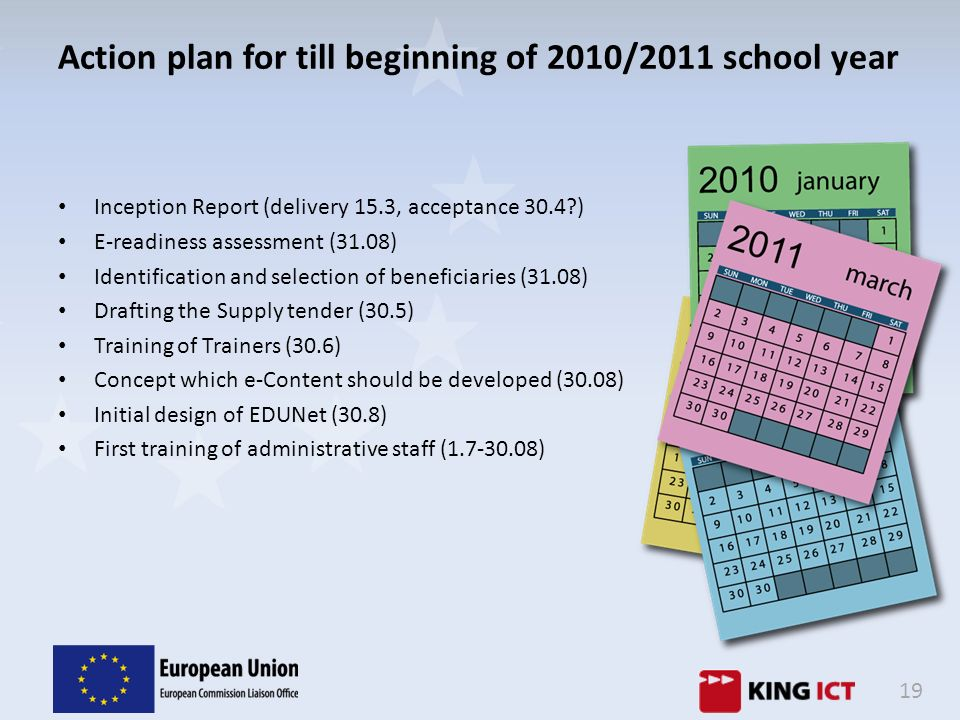 Action plan for till beginning of 2010/2011 school year