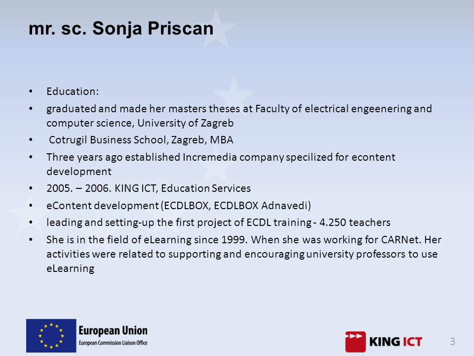 mr. sc. Sonja Priscan Education: