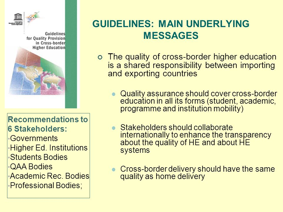 GUIDELINES: MAIN UNDERLYING MESSAGES