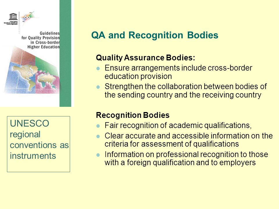 QA and Recognition Bodies