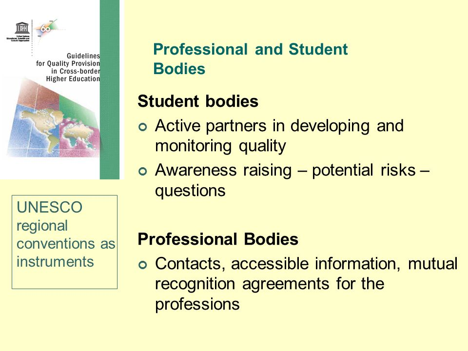 Professional and Student Bodies
