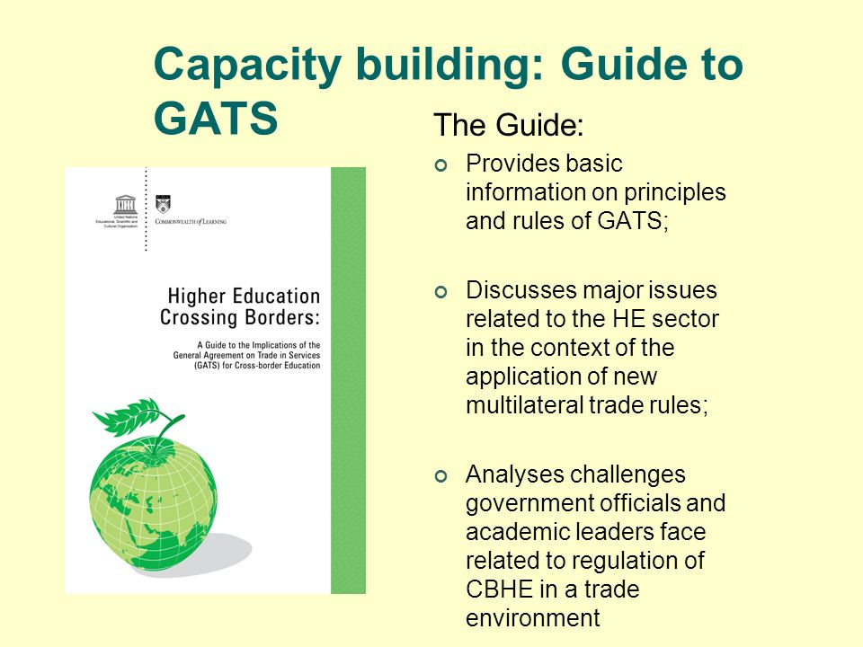 Capacity building: Guide to GATS