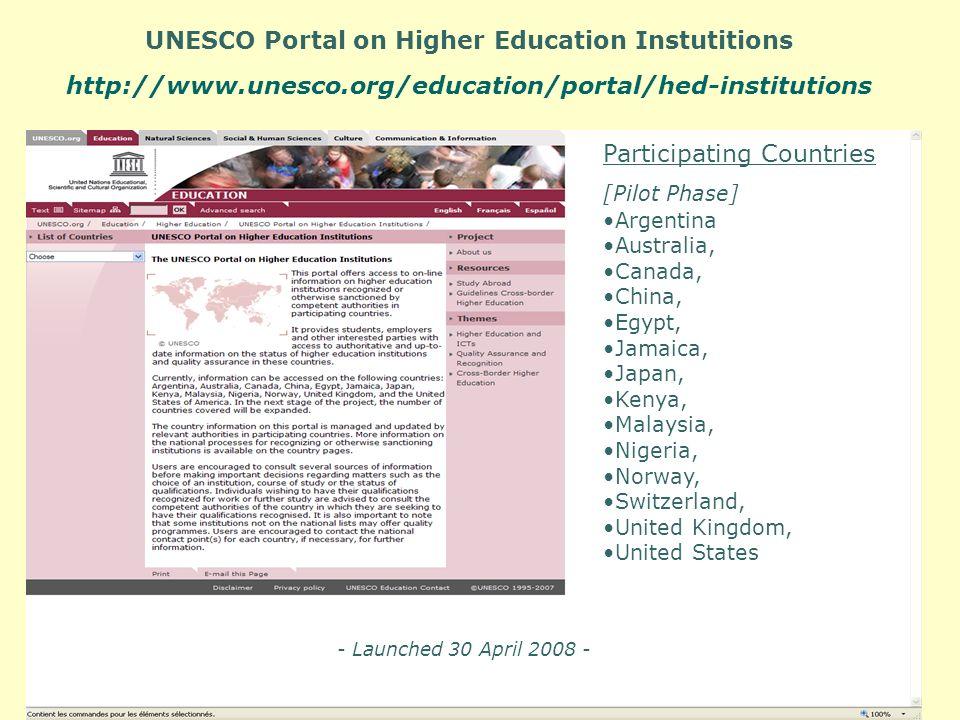 UNESCO Portal on Higher Education Instutitions