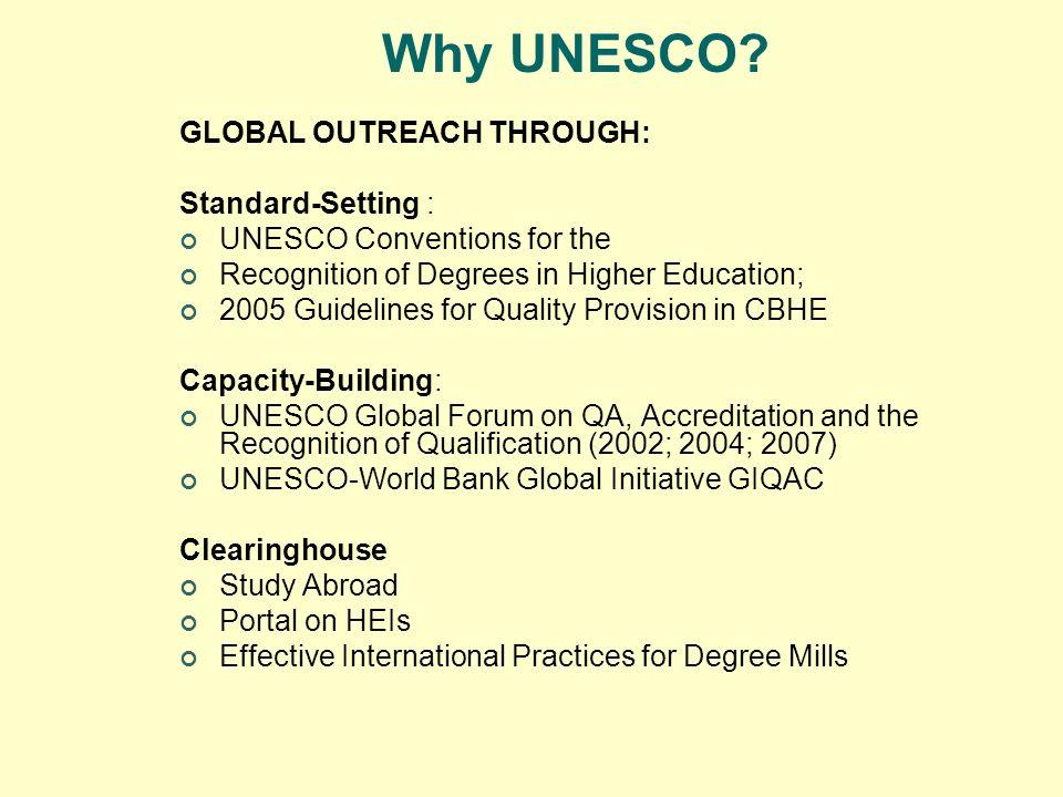 Why UNESCO GLOBAL OUTREACH THROUGH: Standard-Setting :