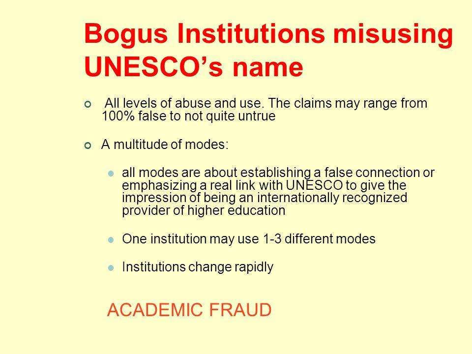 Bogus Institutions misusing UNESCO's name