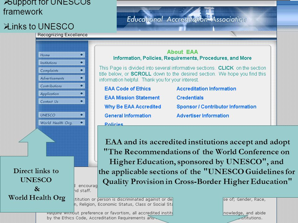 Support for UNESCOs framework Links to UNESCO