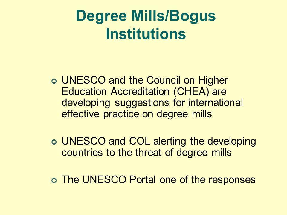 Degree Mills/Bogus Institutions