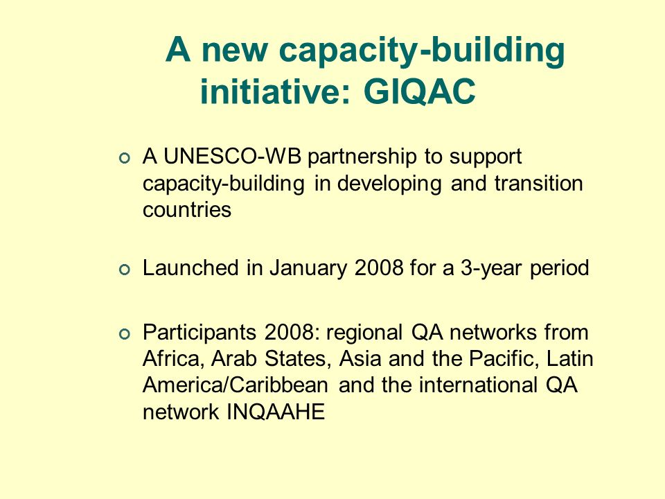 A new capacity-building initiative: GIQAC