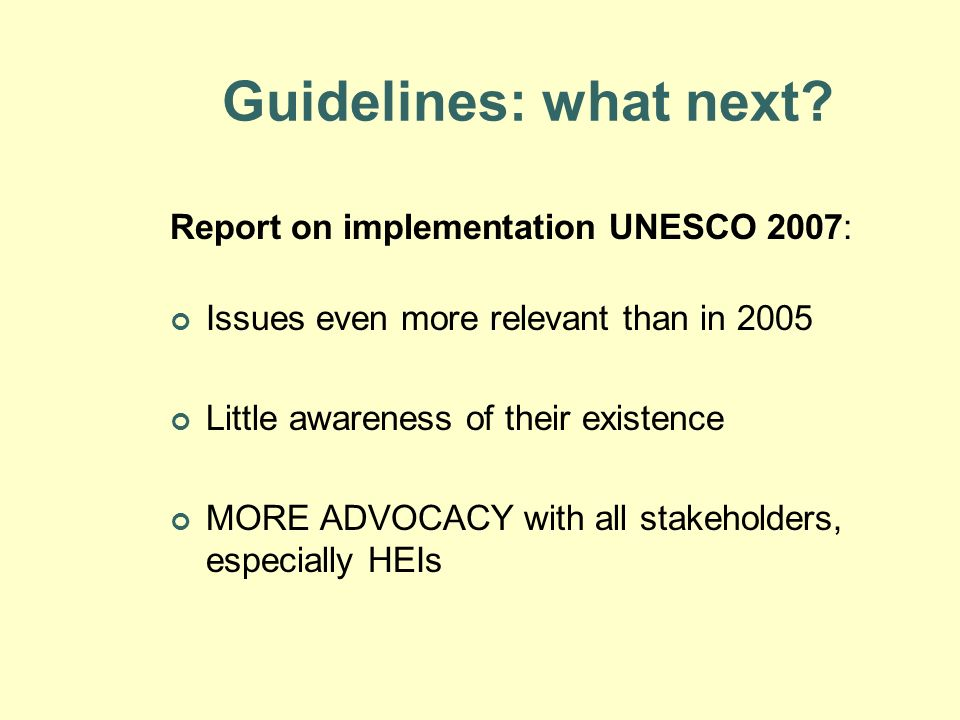 Guidelines: what next Report on implementation UNESCO 2007: