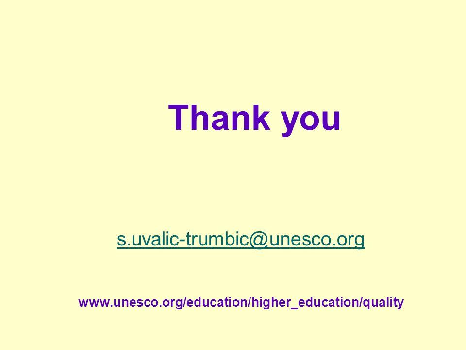 Thank you s.uvalic-trumbic@unesco.org