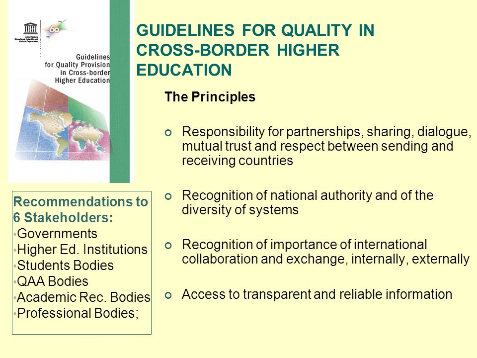 GUIDELINES FOR QUALITY IN CROSS-BORDER HIGHER EDUCATION