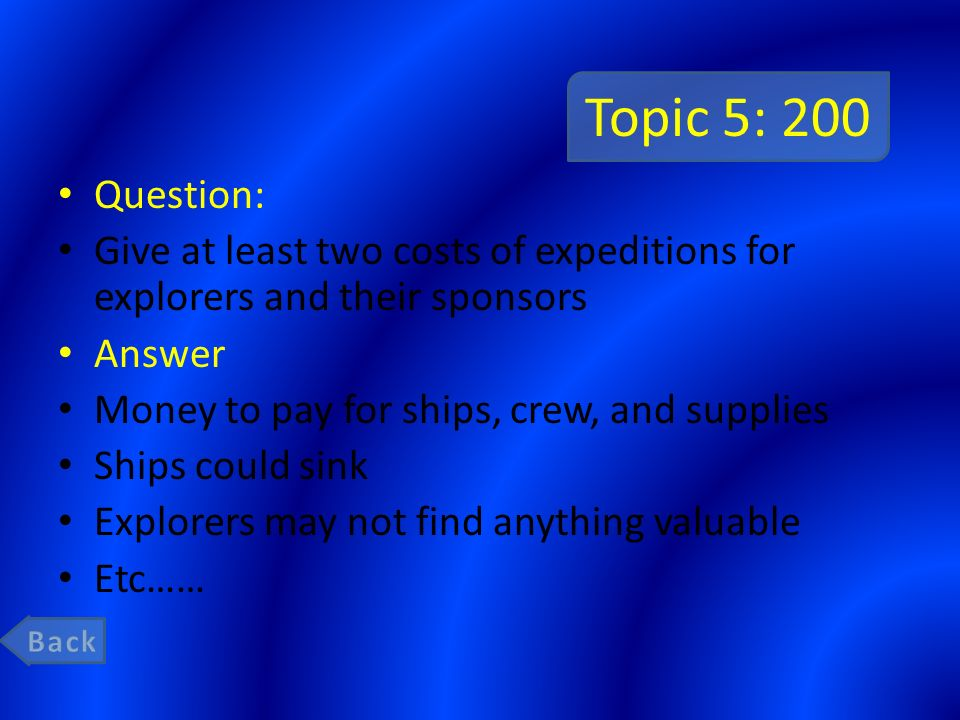 Topic 5: 200 Question: Give at least two costs of expeditions for explorers and their sponsors. Answer.