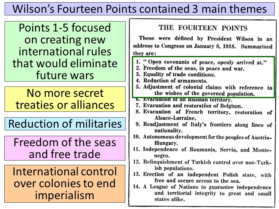 wilsons s fourteen points President wilson became physically ill at the beginning  different from wilson's  fourteen points  german outrage over reparations and the war guilt clause is  viewed as a likely.
