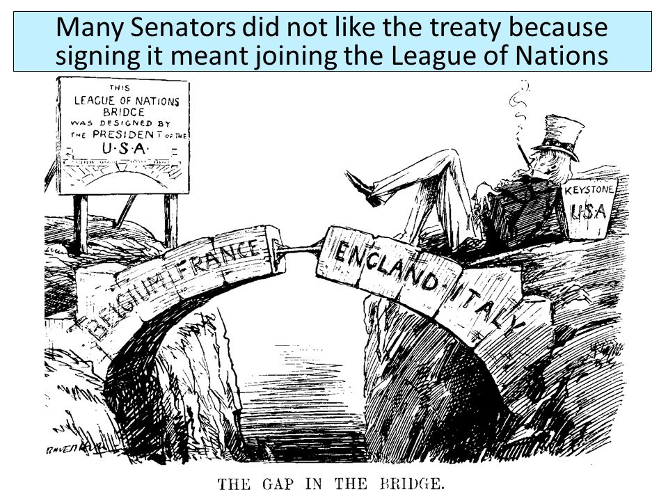Many Senators did not like the treaty because signing it meant joining the League of Nations