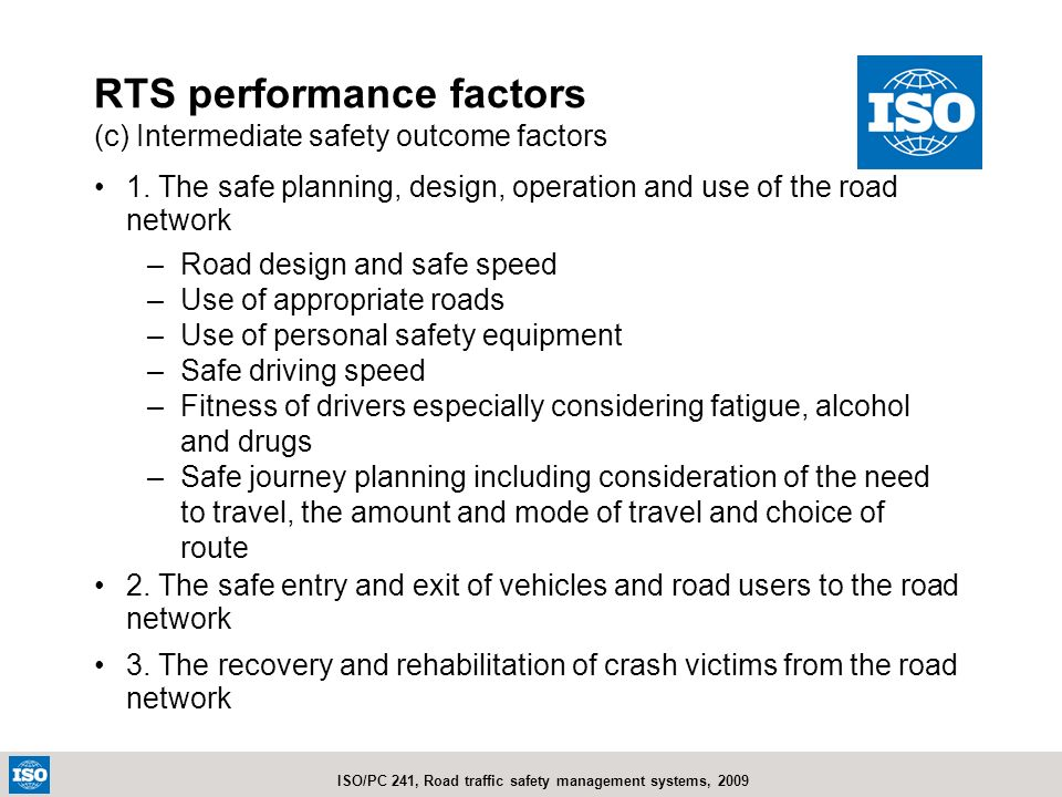 RTS performance factors (c) Intermediate safety outcome factors