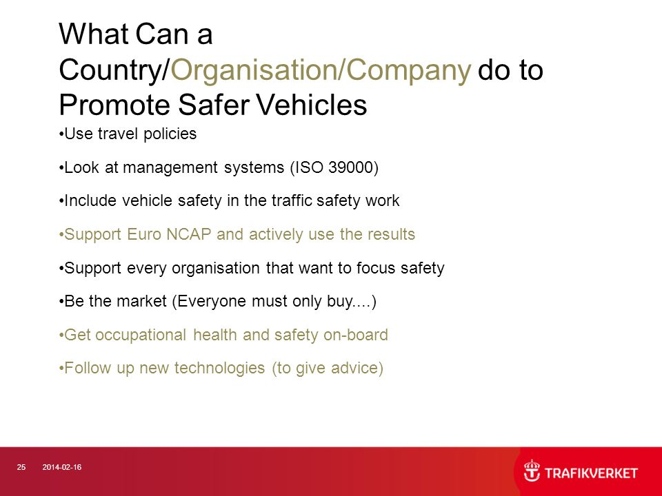 What Can a Country/Organisation/Company do to Promote Safer Vehicles