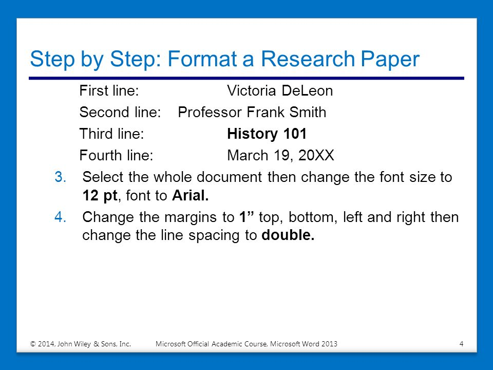 Formatting research paper microsoft word