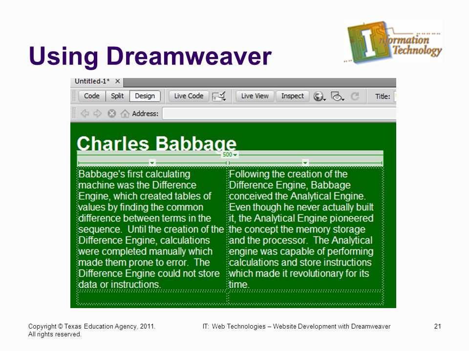 using dreamweaver