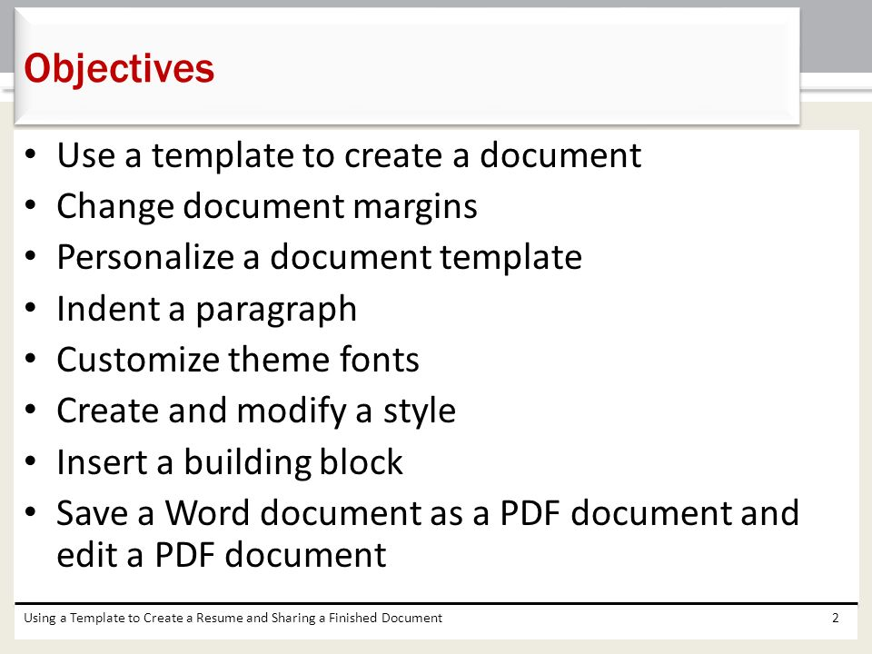 Objectives Use A Template To Create A Document Change Document Margins  Resume Word Document Template