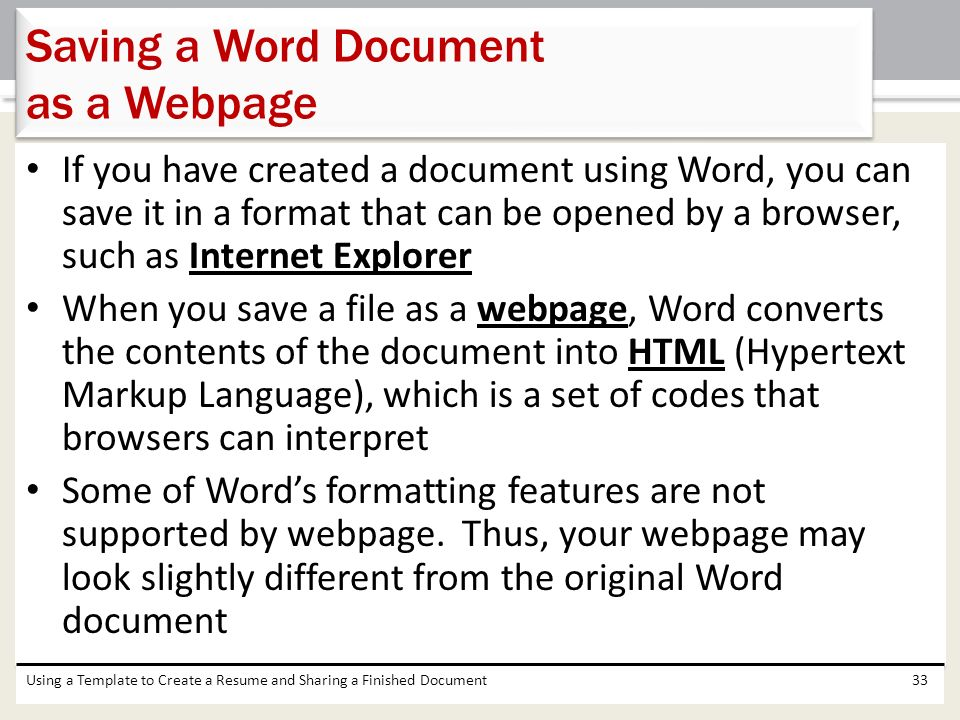 how to make a word document into a web page