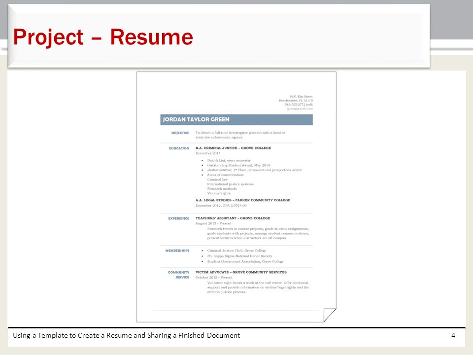 4 project resume using a template to create a resume and sharing a finished document