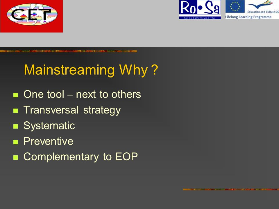 Mainstreaming Why One tool – next to others Transversal strategy