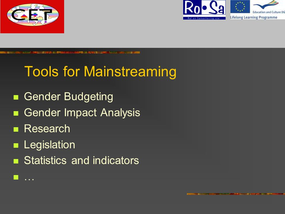 Tools for Mainstreaming