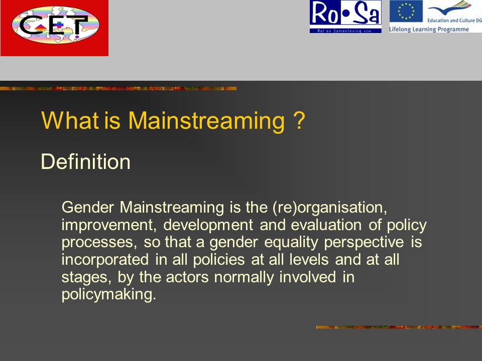 What is Mainstreaming Definition G
