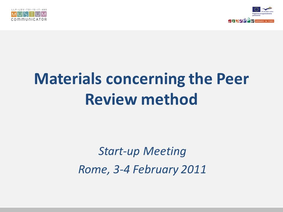 Materials concerning the Peer Review method