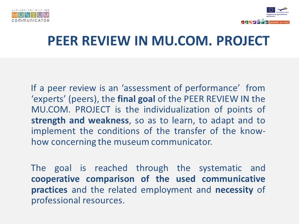 PEER REVIEW IN MU.COM. PROJECT