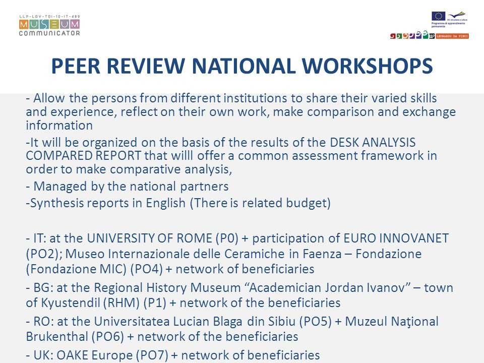 PEER REVIEW NATIONAL WORKSHOPS