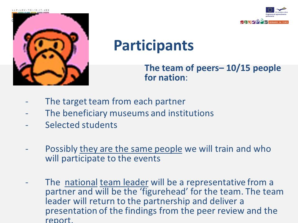 Participants The team of peers– 10/15 people in any for nation: