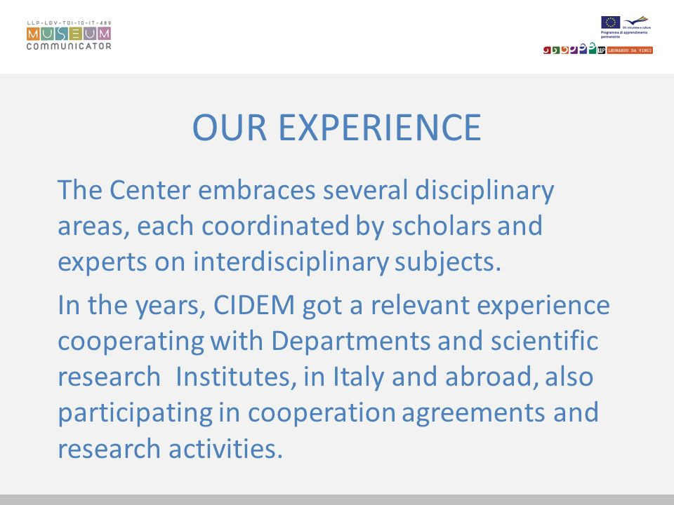 OUR EXPERIENCE The Center embraces several disciplinary areas, each coordinated by scholars and experts on interdisciplinary subjects.