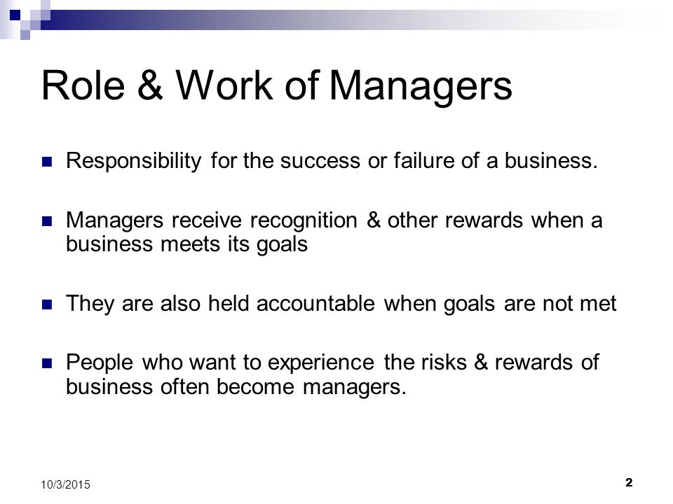 Role & Work of Managers Responsibility for the success or failure of a business.