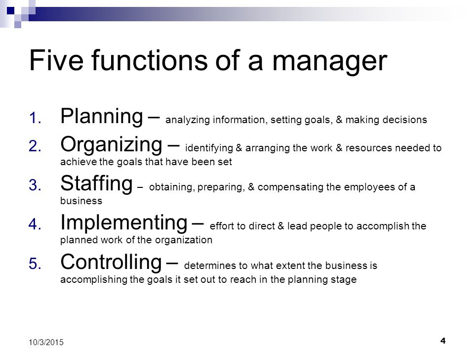 Five functions of a manager