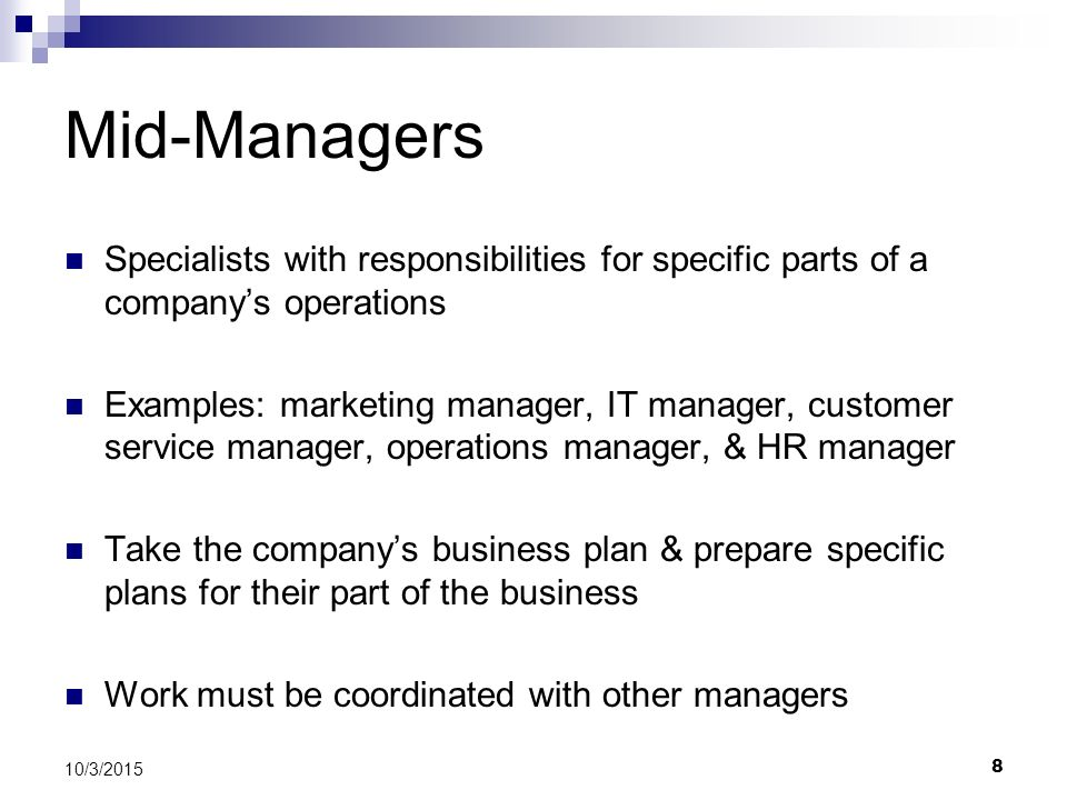 Mid-Managers Specialists with responsibilities for specific parts of a company's operations.