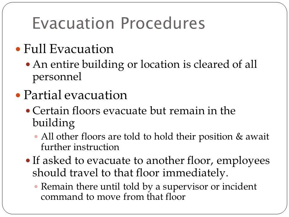 final evacuation checklist
