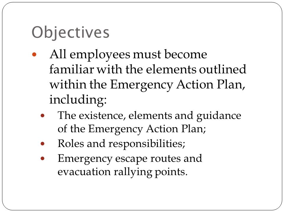 Emergency Action Plan And Response Training  Ppt Download