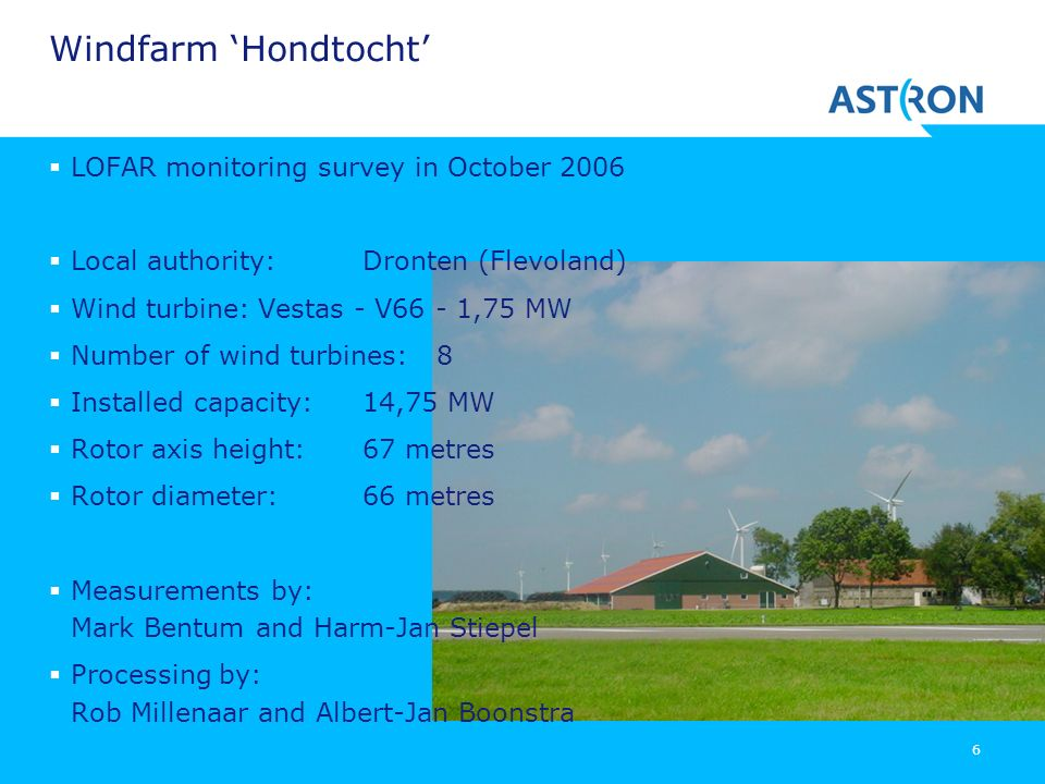 Windfarm 'Hondtocht' LOFAR monitoring survey in October 2006