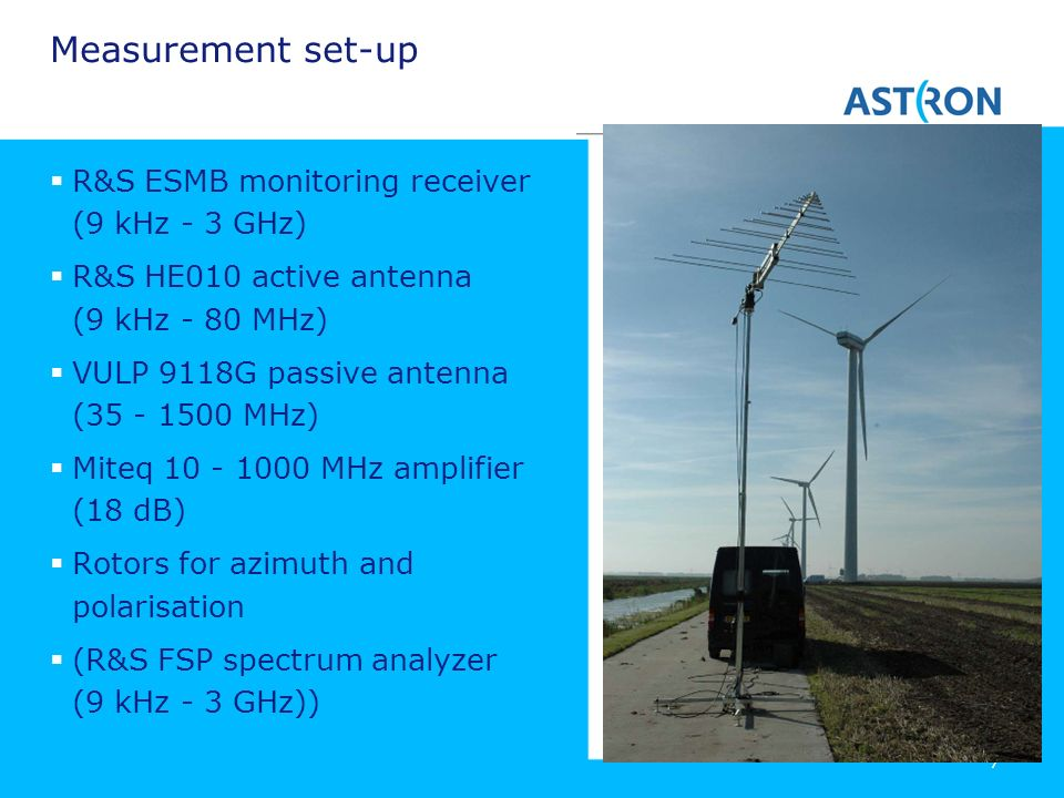 Measurement set-up R&S ESMB monitoring receiver (9 kHz - 3 GHz)