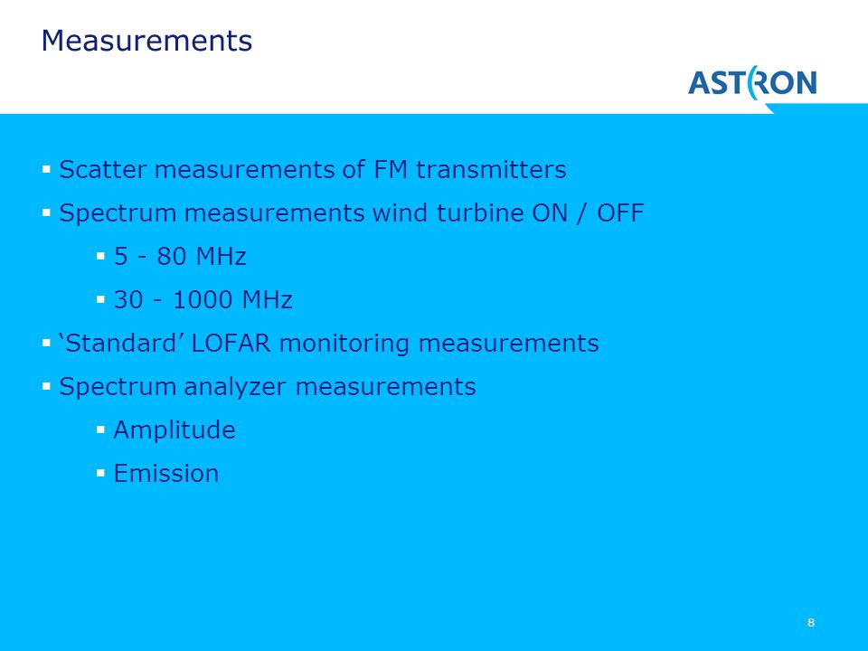 Measurements Scatter measurements of FM transmitters