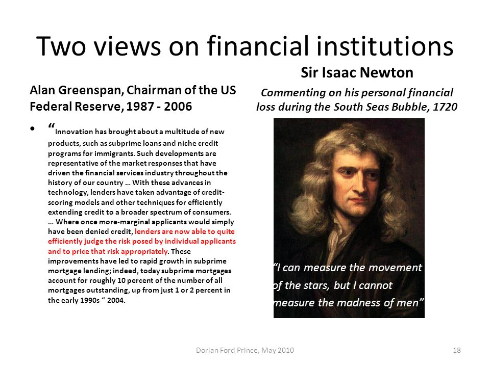 Two views on financial institutions