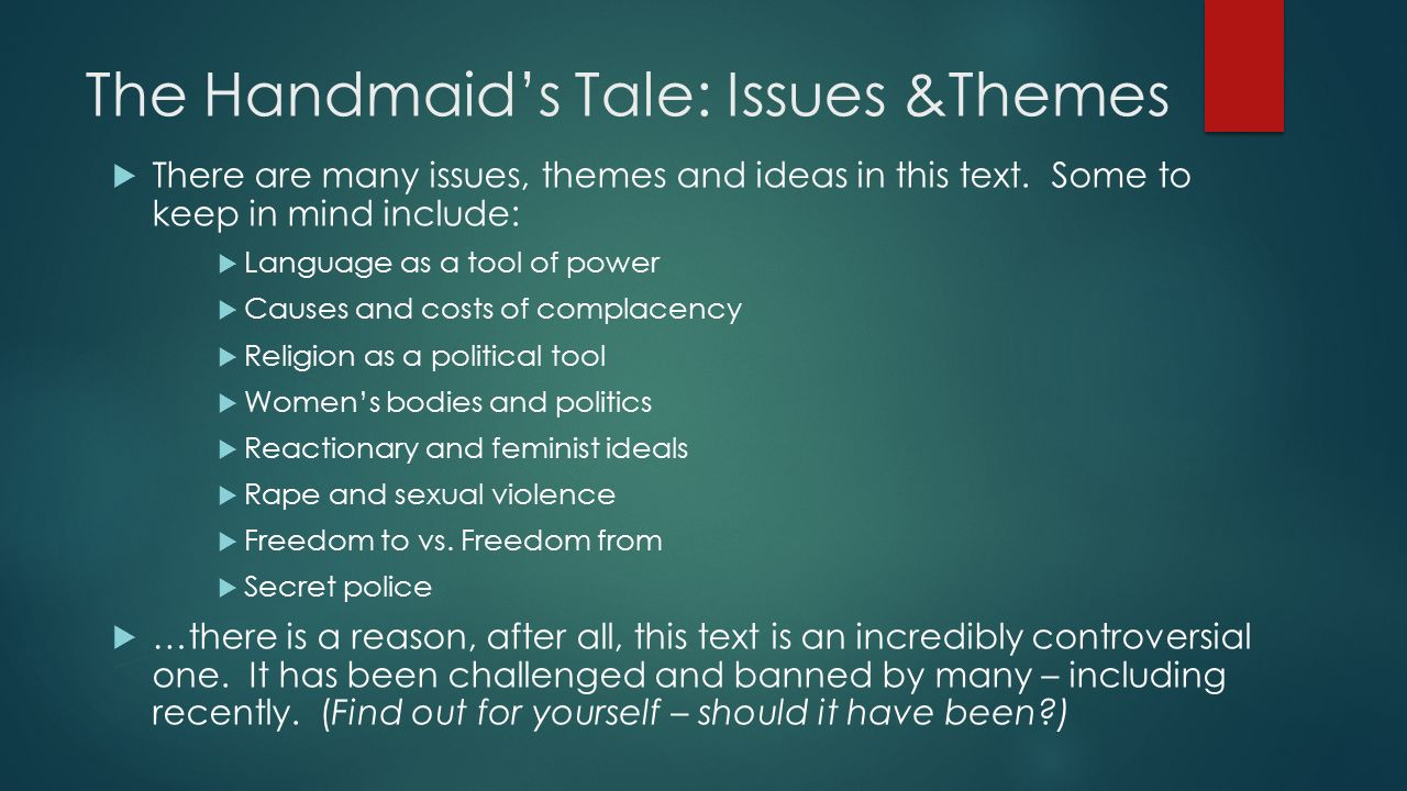 themes novel handmaids tale Another of the novel's most important themes, and one that re-occurs in many of atwood's novels study guide for the handmaid's tale the handmaid's tale study guide contains a biography of margaret atwood, literature essays, quiz questions, major themes.