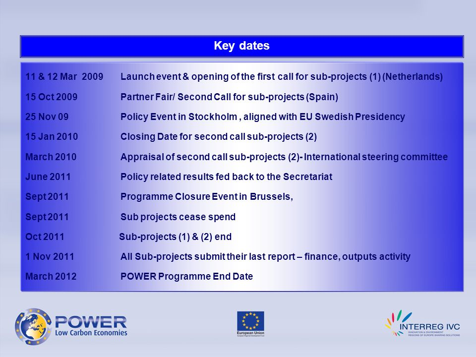 Key dates 11 & 12 Mar 2009 Launch event & opening of the first call for sub-projects (1) (Netherlands)