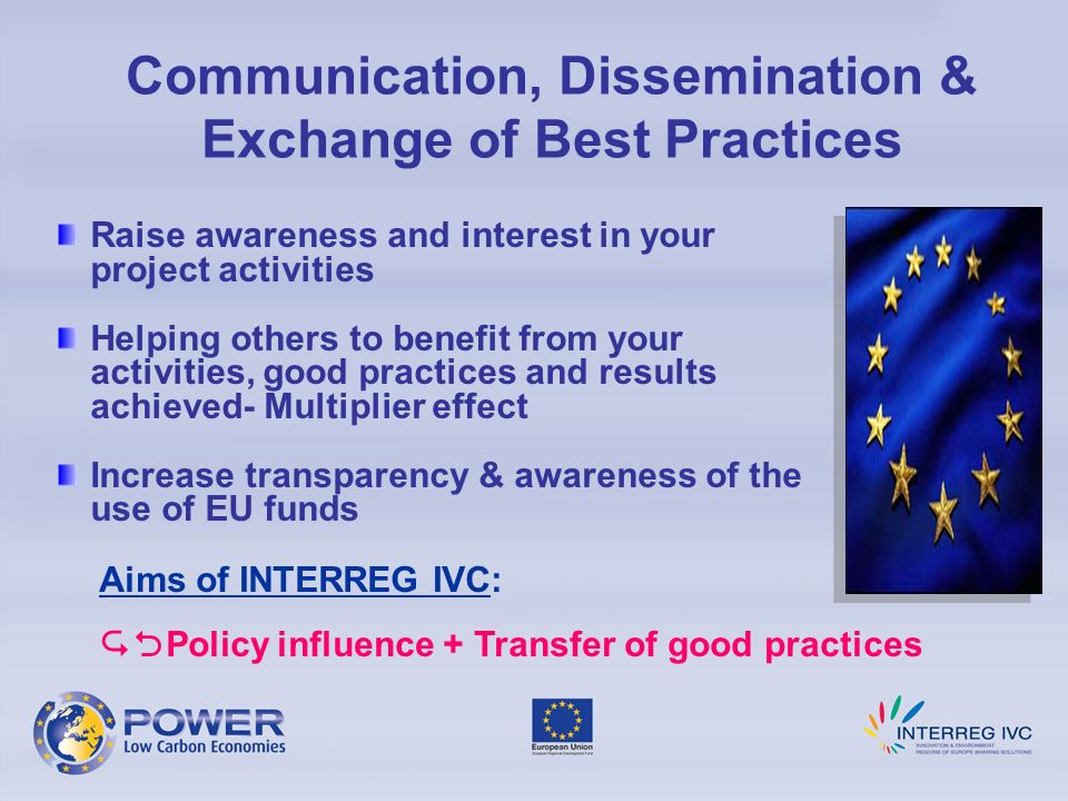 Communication, Dissemination & Exchange of Best Practices