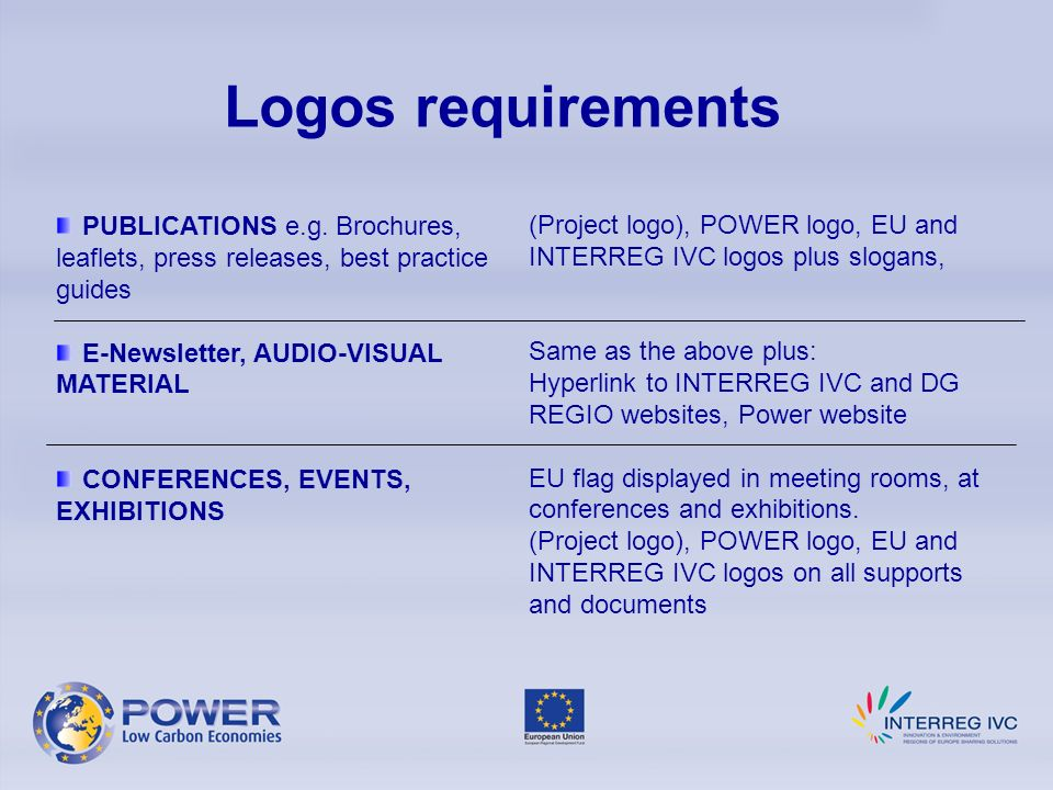 Logos requirements (Project logo), POWER logo, EU and INTERREG IVC logos plus slogans, Same as the above plus: