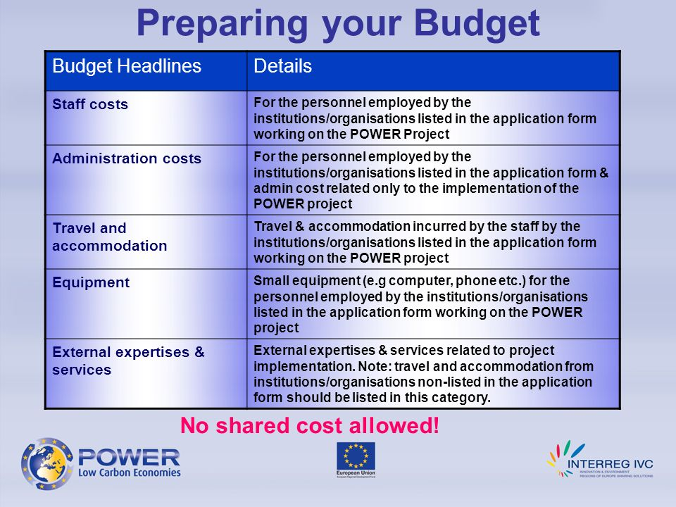Preparing your Budget No shared cost allowed! Budget Headlines Details